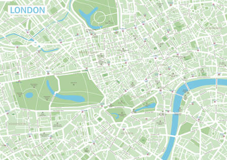 Highly detailed vector map of London.It's includes: - streets- parks- names of subdistricts- points of interests Stock Illustratie