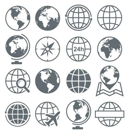 Earth Globe Round Icon Set Collection - vectorillustratie