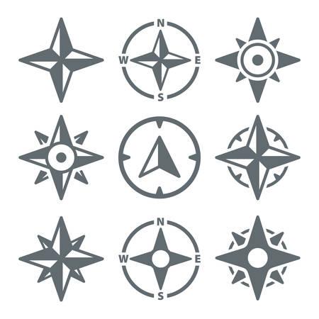 rosa vientos: Iconos de la navegación de viento rosa de los vientos - conjunto del vector