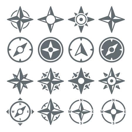 rosa de los vientos: Iconos de la navegación de viento rosa de los vientos - conjunto del vector