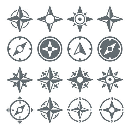 Wind Rose Compass Navigation Icons - Vector Set