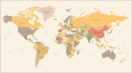 america del sur: Ilustración del vector del mapa del mundo retro