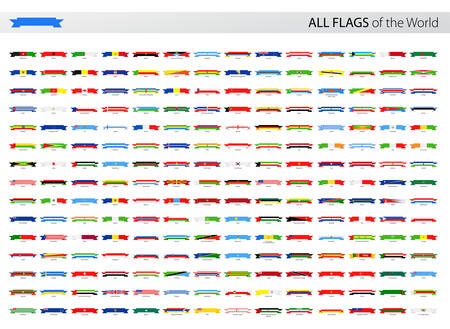 world flags: Vector Collection of All World Ribbon Vector Flags