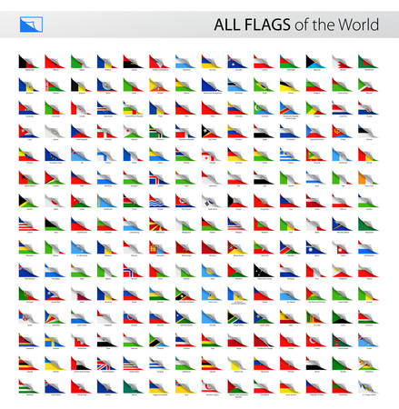 world flags: Vector Collection of All World Paper Corner Vector Flags