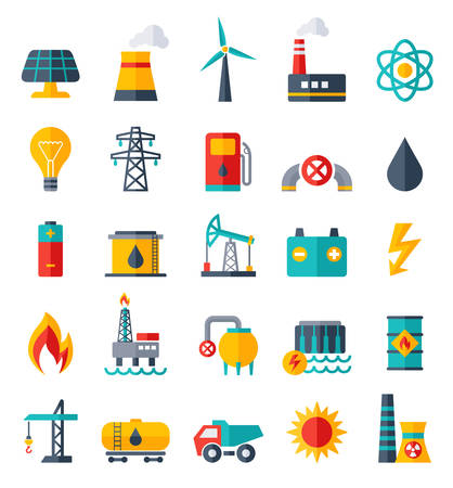 power industry: Vector Set of Power Energy Industry Flat Icons