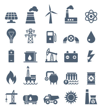 Vector Set of Power Energy Industry Flat Icons