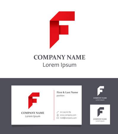 Letter F - Logo Design Element with Business Card - illustration