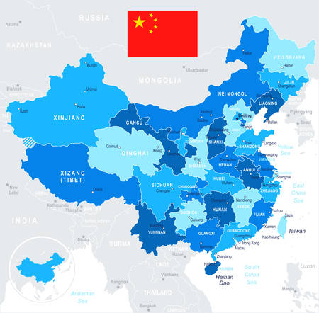 China map and flag - highly detailed vector illustration Иллюстрация