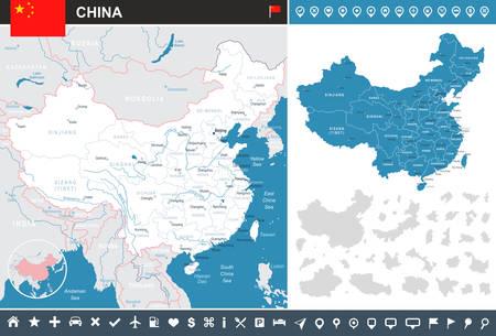 China-Karte und Flagge - sehr detaillierte Vektor-Illustration
