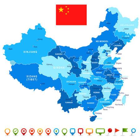 China kaart en vlag - zeer gedetailleerde vector illustratie