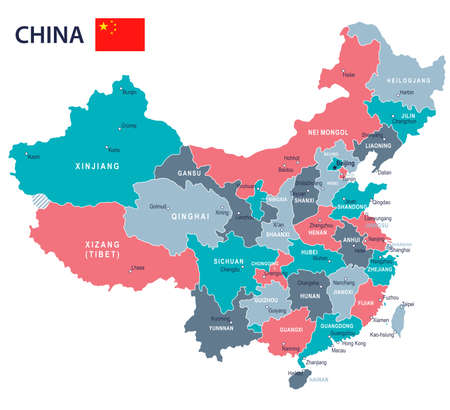 China map and flag - highly detailed vector illustration Ilustração