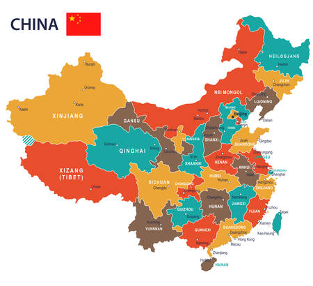 China map and flag - highly detailed vector illustration Stock Illustratie