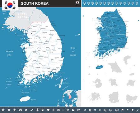 Mapa de Corea del Sur y la bandera - muy detallada ilustración vectorial