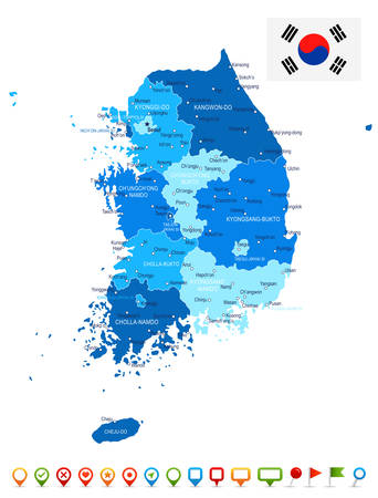 korea map: South Korea map and flag - highly detailed vector illustration
