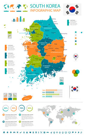 South Korea map and flag - highly detailed vector illustration