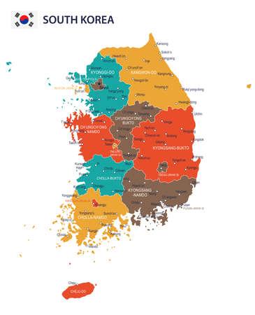 Südkorea Karte und Flagge - sehr detaillierte Vektor-Illustration