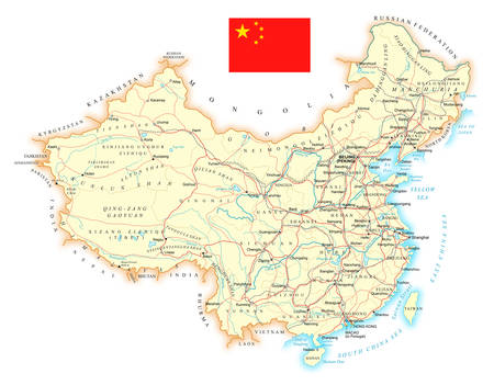 China - large detailed road topographic map - vector illustration.