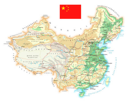green street: China - detailed topographic map - vector illustration.