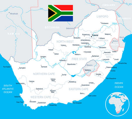 South Africa map and flag - highly detailed vector illustration Illustration