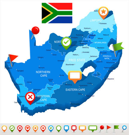 South Africa map and flag - highly detailed vector illustration Ilustração