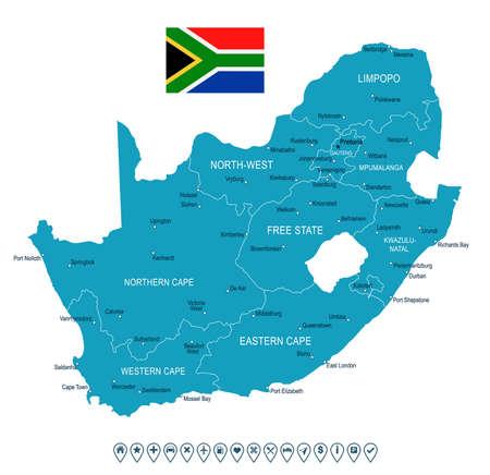 Mappa del Sud Africa e bandiera - illustrazione vettoriale altamente dettagliata Archivio Fotografico - 75708584