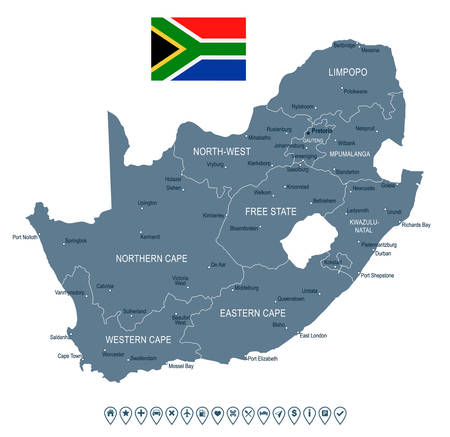 gauteng: South Africa map and flag - highly detailed vector illustration Illustration