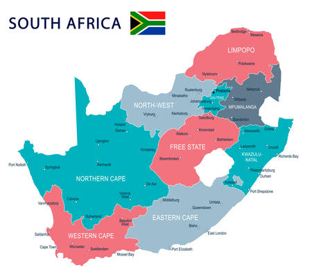 南アフリカ共和国の地図と国旗 - 非常に詳細なベクトル図