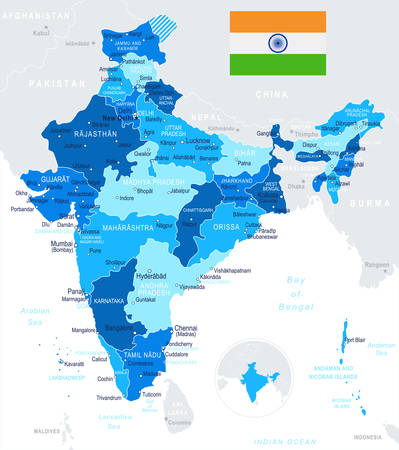 India map and flag - highly detailed vector illustration. Stock Vector - 76077706