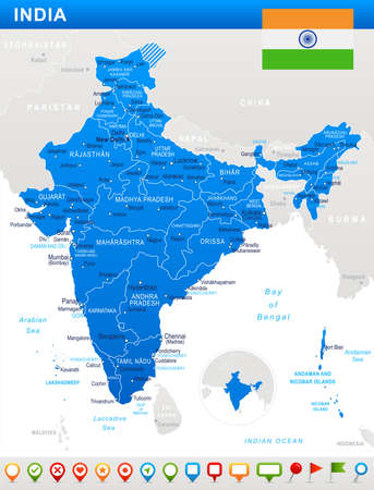 arunachal pradesh: India map and flag - highly detailed vector illustration. Illustration