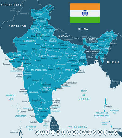 India map and flag - highly detailed vector illustration. Illustration