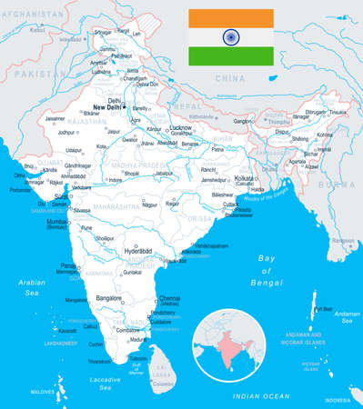 India map and flag - highly detailed vector illustration. Stock Vector - 76077717
