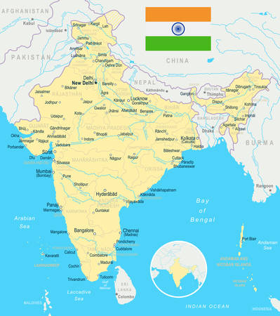 India map and flag - highly detailed vector illustration. Иллюстрация