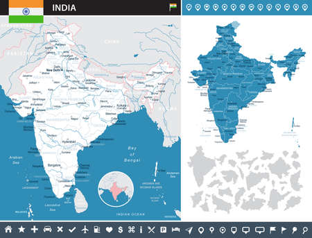 India infographic map and flag - highly detailed vector illustration.
