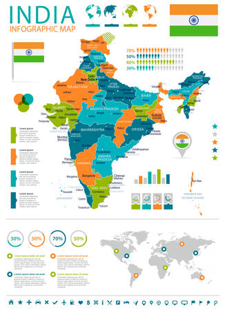 haryana: India infographic map and flag - highly detailed vector illustration.