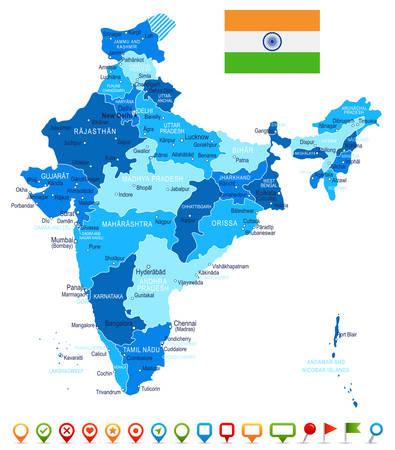 インド地図と国旗 - 非常に詳細なベクトルの図。