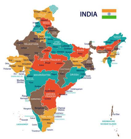 Carte et drapeau de l'Inde - illustration vectorielle très détaillée.
