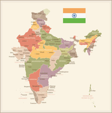 India vintage map and flag - highly detailed vector illustration.