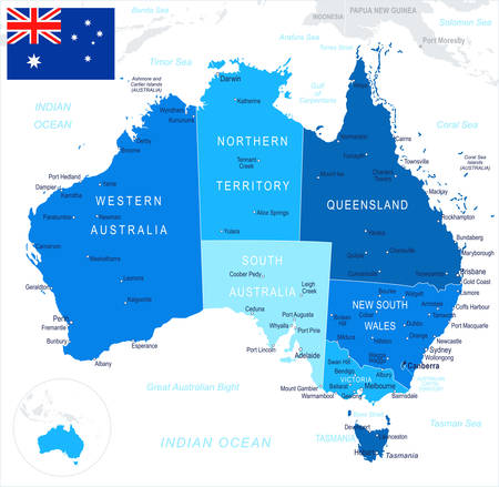 Australia map and flag - highly detailed vector illustration Illustration