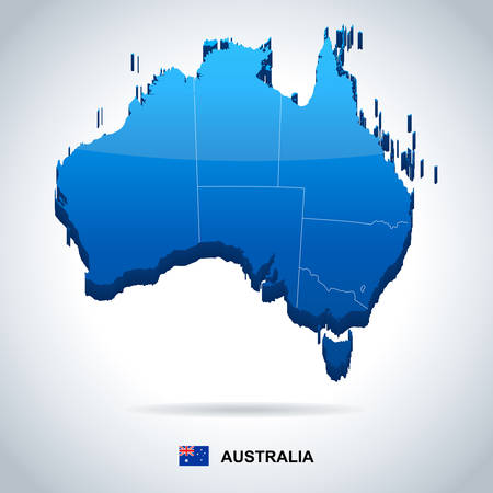 Australia map and flag - highly detailed illustration Illustration