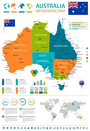 adelaide: Australia map and flag - highly detailed illustration Illustration