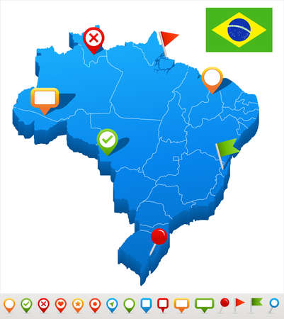 geographical locations: Brazil map and flag - highly detailed vector illustration