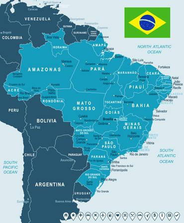 ブラジル地図と国旗 - 非常に詳細なベクトル図  イラスト・ベクター素材