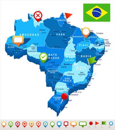Brazil map and flag - highly detailed vector illustration
