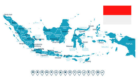 geographical locations: Indonesia map and flag - highly detailed vector illustration