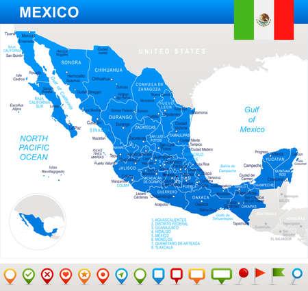 México mapa y bandera - muy detallada ilustración vectorial Foto de archivo - 78267517