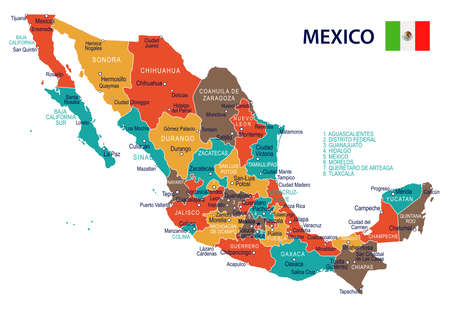 Mexico map and flag - highly detailed vector illustration