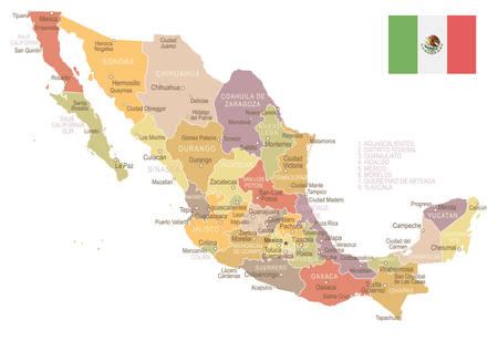 guadalajara: Mexico map and flag - highly detailed vector illustration