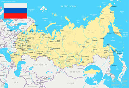 dagestan: Russia map and flag - highly detailed vector illustration