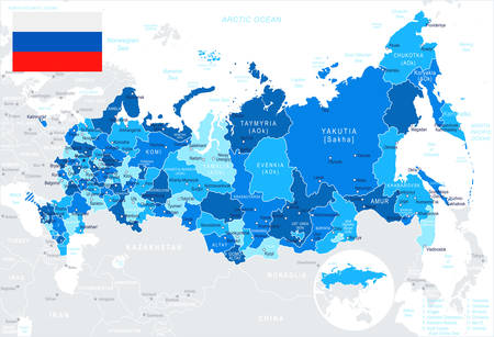 moscow city: Russia map and flag - highly detailed vector illustration