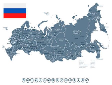 ロシアの地図と国旗 - 非常に詳細なベクトル図